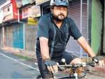 Jayaram Enjoyed Cycle Ride Hartal Day