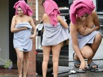 Chloe Ferry Barely Covers Her Modesty As She Struggles Carry A Box In Just A Towel