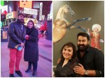 Mohanlal With Wife Suchithra At New York