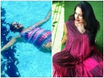 Actress Sameera Reddy Swimming In Pool With Huge Baby Bump