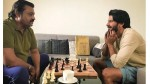 Suresh Gopi And Dulquer Salmaan Playing Chess In Location