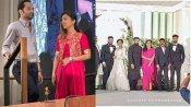 നസ്രിയയുടെ കൈപിടിച്ച് ഫഹദ് ഫാസിലുമെത്തി,  അനീഷയുടെ വിവാഹ വിരുന്നിനിടയിലെ ചിത്രം വൈറല്