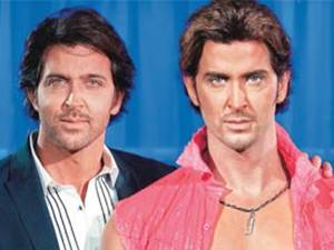 Hrithik with wax figure