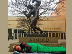 Superstar Sleeping Under His Famous Bronze Statue