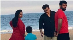 Ajith Spends Ime With Son And Wife Shalini At Chennai Beach